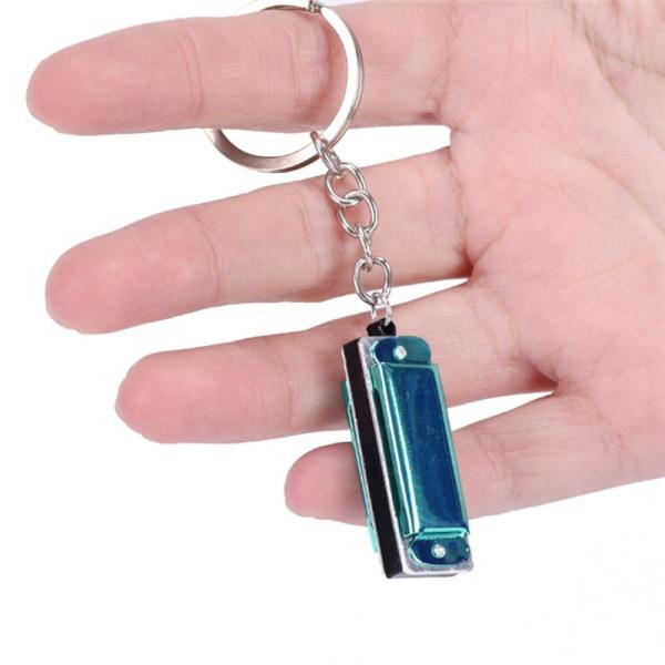 Färg Random Mini Harmonica Keychain Mouth Organ Keyringing Penden