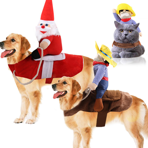 Cute Dog Puppy Christmas Santa Warm Costumes Coat Clothes Pet Ap Red M