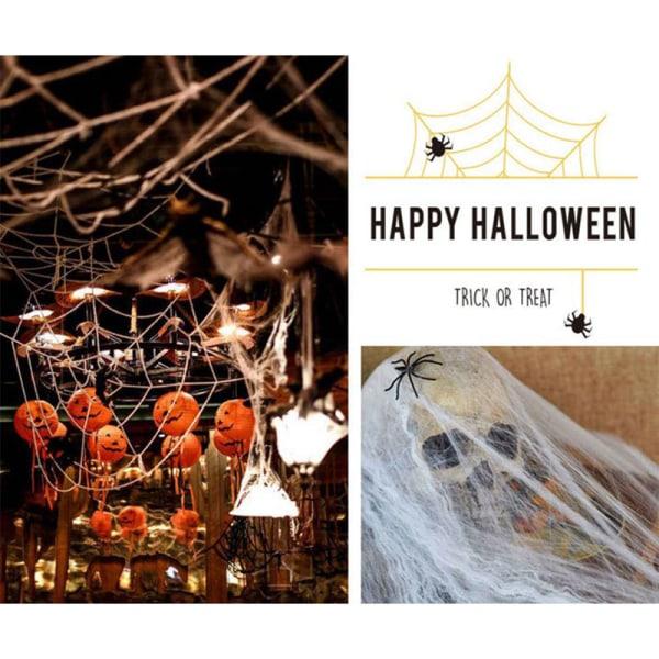 Halloween trädgård dekor spindelnät rekvisita stretchig spindelnät skräck