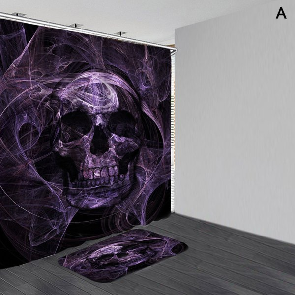 Halloween skull Waterproof Shower Curtain Anti slip Bath Mat Bat E 180*180 curtain