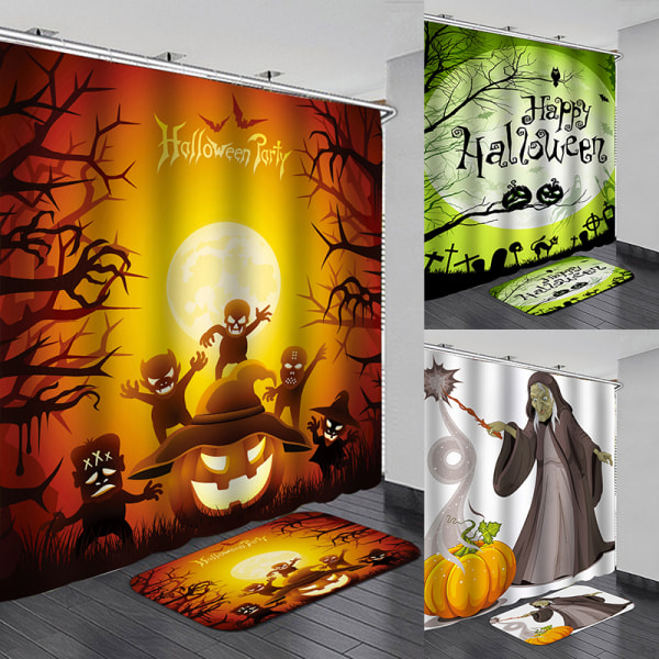 Halloween Waterproof Shower Curtain Anti slip Bath Mat Bathroom  B 90*180  curtain