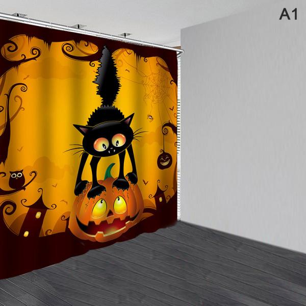 Halloween vattentät duschdraperi Anti-halk badmattor Bathroo