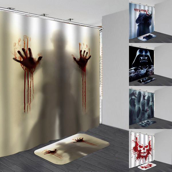 Halloween Waterproof Showers Curtain Anti-slip Bath Mats Carpet B 180*200 curtain