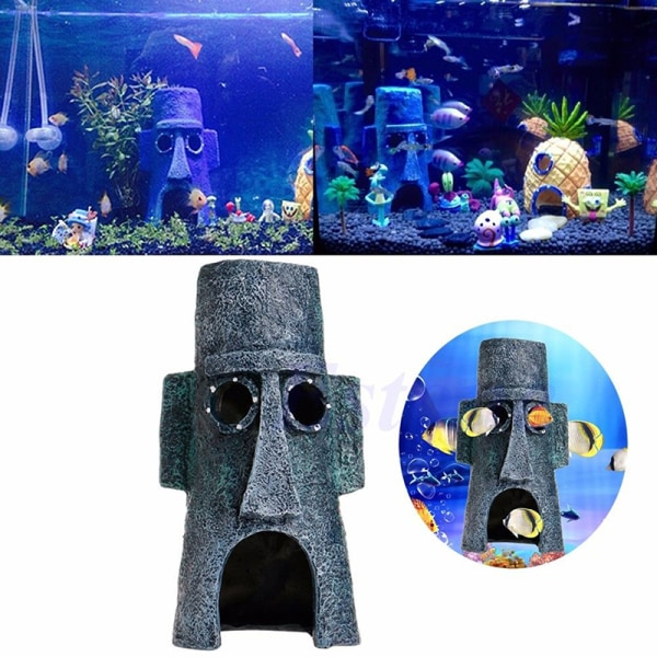 Hot Aquarium Landscaping Decoration SpongeBob House Aquatic Fish Grey 7.5X14.5CM