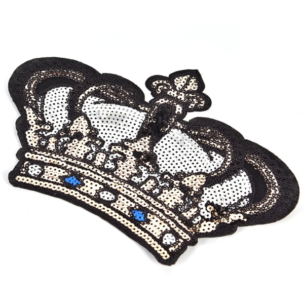 Stort Crown Patch Badge Cartoon Sequin Iron On Sewing On For Cl