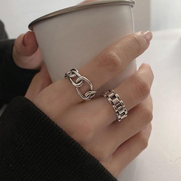minimalistiska 925 fingerringar nya mode kreativa kors ihåliga ch B