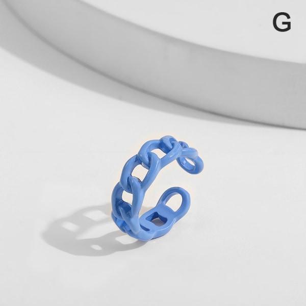 nya mode geometriska kedja ring godis färg oregelbunden öppen kvinna G