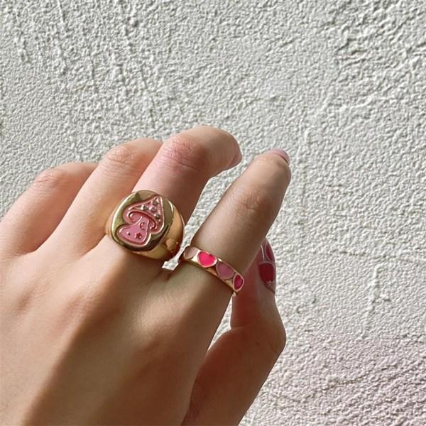 new ins sweet two color drop oil love ring söt hjärtring för w Pink Size 8