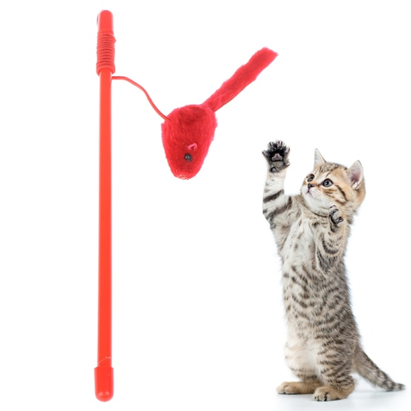 Pet Cat Toy Cute Design Mouse Stick Teaser Wand Plastic Toy for