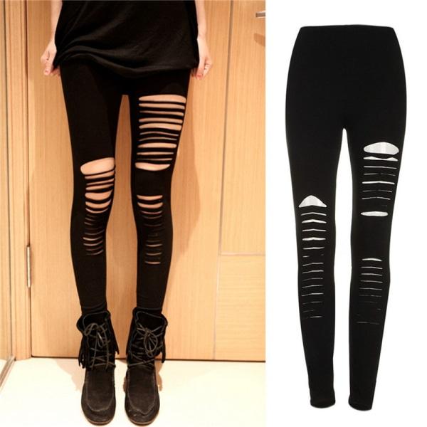 Sexy Black Punk Ripped Torn Slashed Cut Striped Leggings Pants  Black One Size