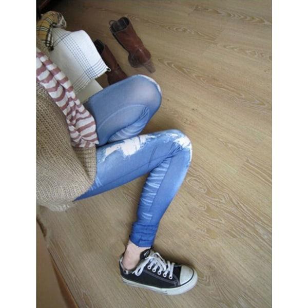 Women Ripped Denim Jean Look Skinny Leggings Slim Jeggings Trou Blue