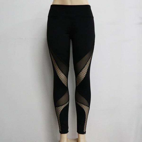 Women Slim Legging Moisture Wicking Mesh Gym Yoga Pants Sportsw Black S