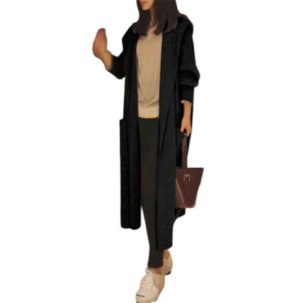 Women Sweater Knitted Hooded Long Sleeve Cardigan Casual Loose O Black M