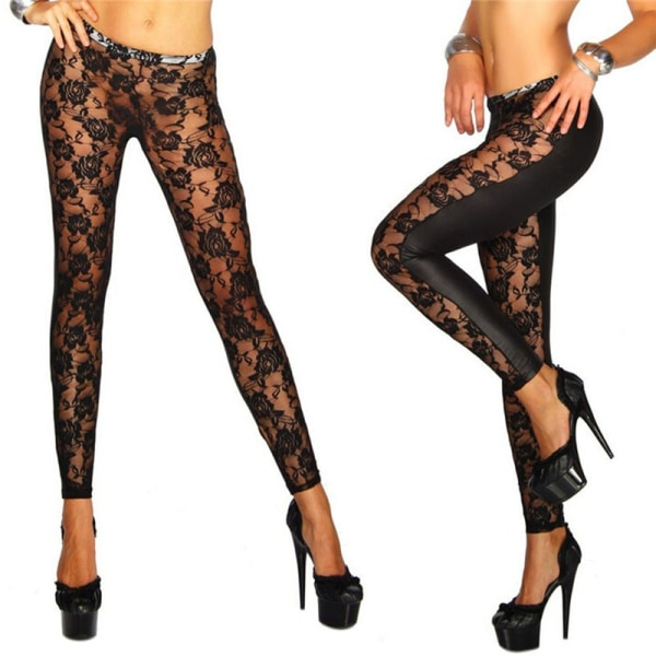 Womens Black Rose Vine Sheer Stretchy Floral Lace Leggings Tigh Black One Size