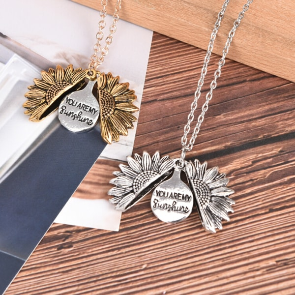 You Are My Sunshine Open Locket Sunflower Pendant Necklace Fashi Gold