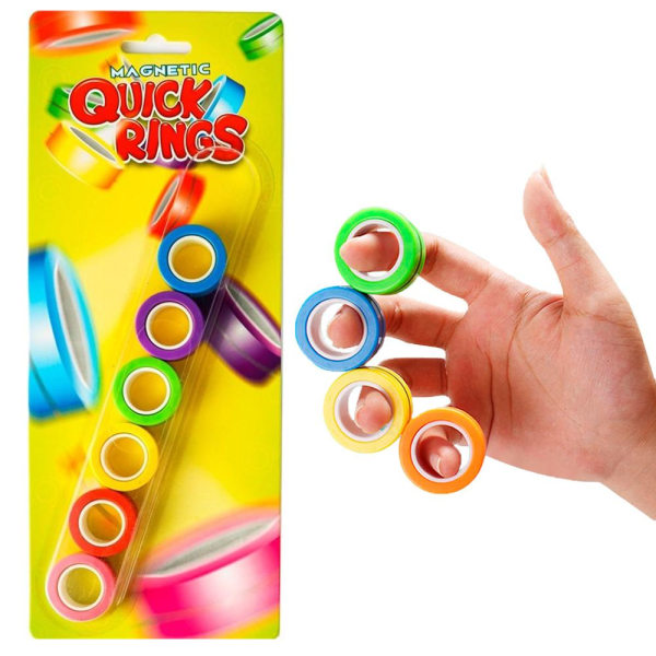 6-Pack Magnetic Quick Rings Neon Anti-Stress Stressringar multifärg