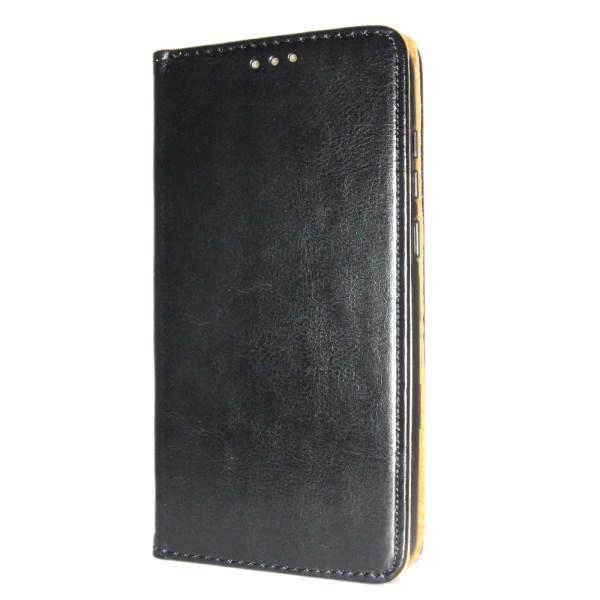 Äkta Läder Book Slim Samsung Galaxy A7 2018 Plånboksfodral Svart Svart