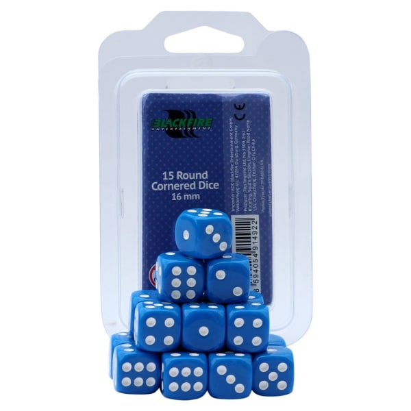 Blackfire Dices - 16mm D6 Dices - Blue 15 Pcs. Blå