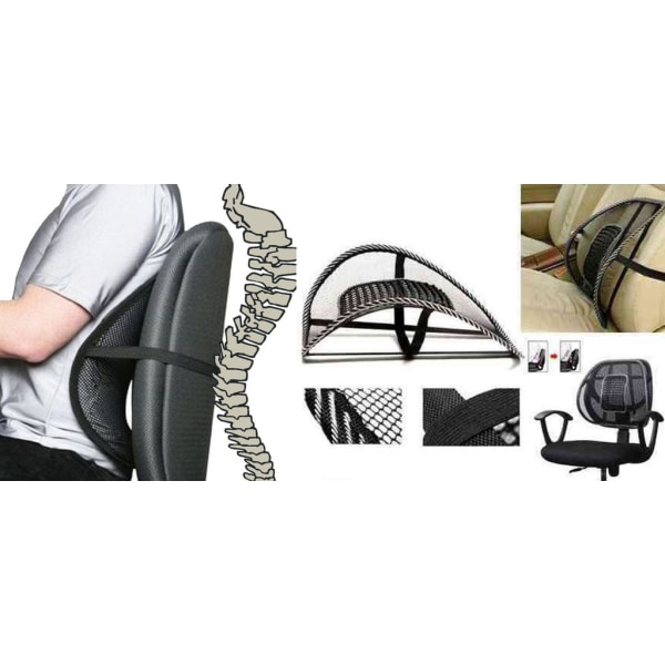 Ergonomiskt Svankstöd Ryggstöd Rygg Komfort Massage Svart Svart