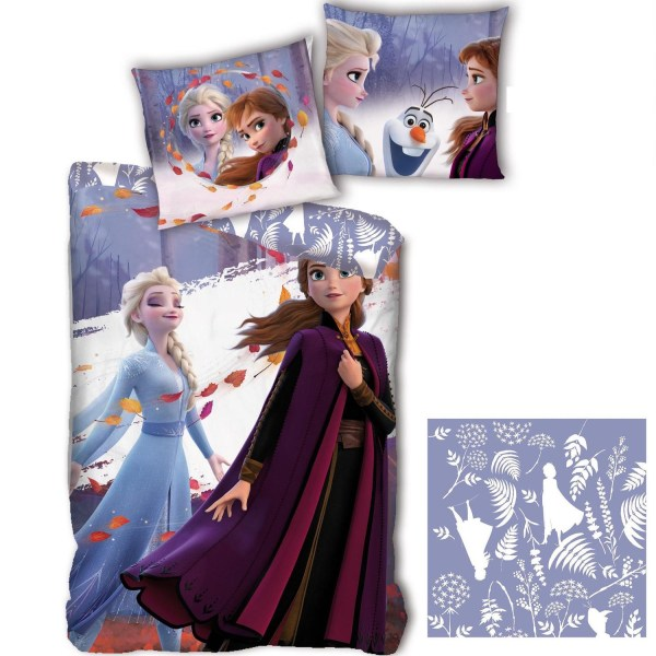 Frozen II Anna Elsa Påslakanset Bäddset Vändbart 140x200+63x63cm multifärg