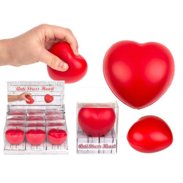 Klämboll Stressboll Antistress Hjärta 6cm  Röd