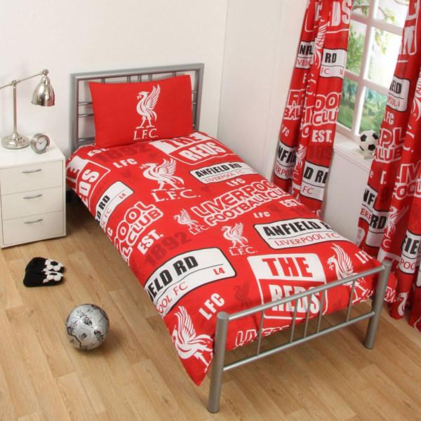 Liverpool FC Patch Påslakanset Bäddset 135x200 + 50x75cm Röd