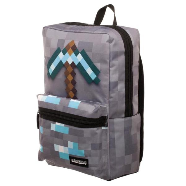 Minecraft Diamond Pickaxe Backpack Skolväska Ryggsäck Väska 47cm grå one size