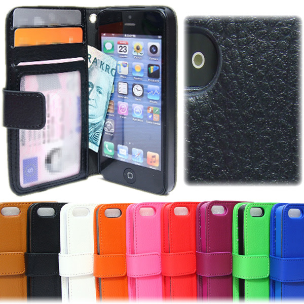 Plånboksfodral iPhone 5C Lycheeläder ID/Foto ficka 3st kort Svart