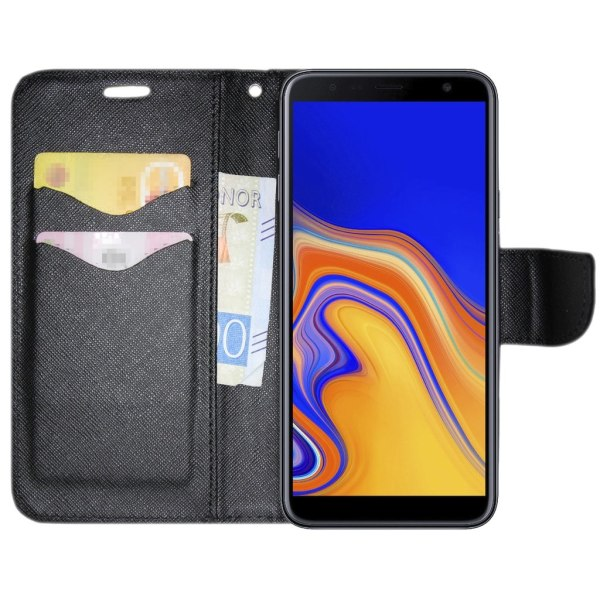 Samsung Galaxy A7 2018 Plånboksfodral Fancy Case + Handrem Svart Black Samsung Galaxy A7 2018 A750