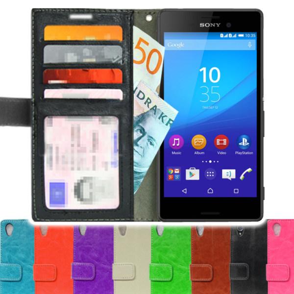 Sony Xperia M4 Aqua Plånboksfodral 4st Kort + Skärmskydd Svart