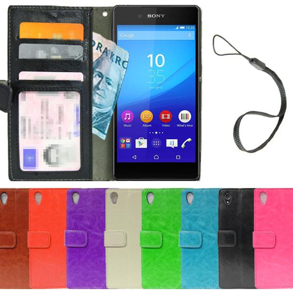 Sony Xperia M4 Aqua Plånboksfodral 4st Kort + Skärmskydd Brun