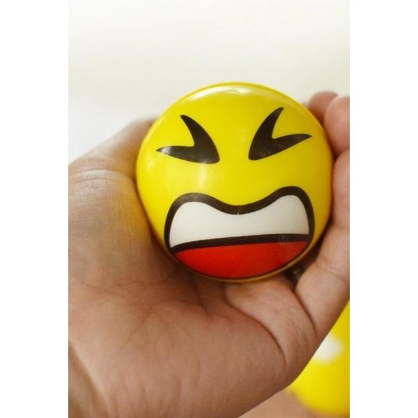 Stressbollar, Squeeze , Emoji, Smiley, Bollar, Skämt, 3-Pack Gul