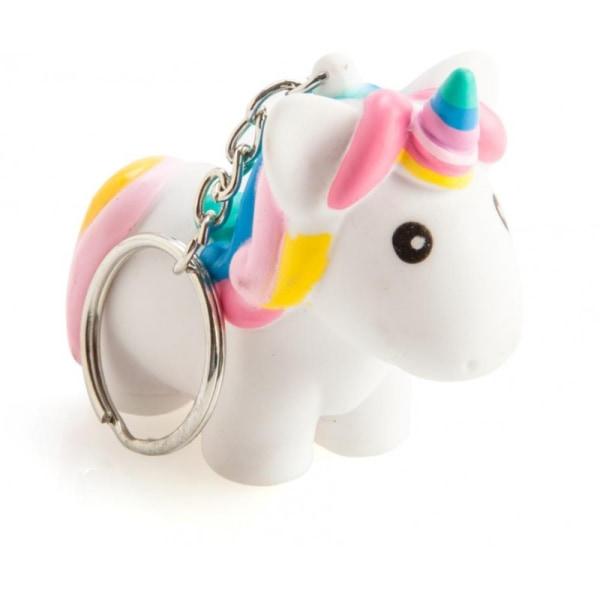 Unicorn Nyckelring Bajsande Enhörning Kläm Leksak Squeeze Slime  Rosa