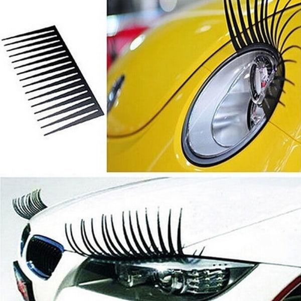 1 Pair Chic Black Car Lashes Headlight Eyelashes Accessories Sti Black One Size