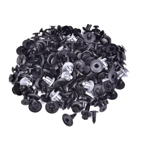 100Pcs Plastic Mixed Screw Rivet Clip Fastener Set For Car Trunk Black
