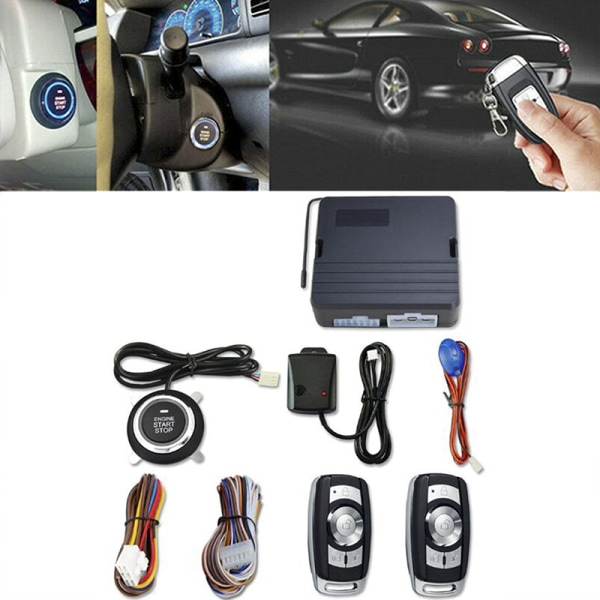 12V Universal Car Push Button Start Remote Ignition Vibration Al Black
