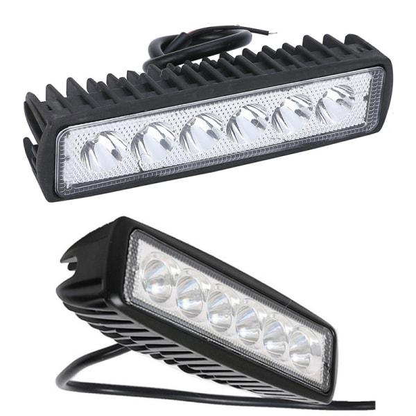 18W 6inch LED Work Light Bar Flood Lamp Offroad Driving Fog 4WD  Black