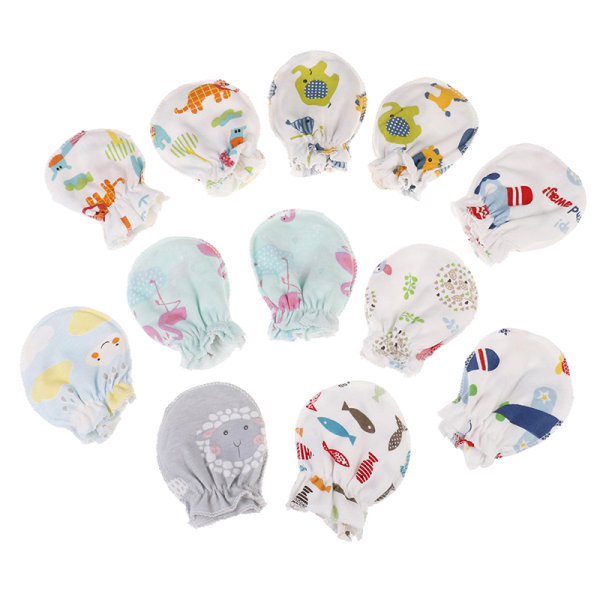 3Pcs newborn protection face cotton mittens fashion baby cartoo one size