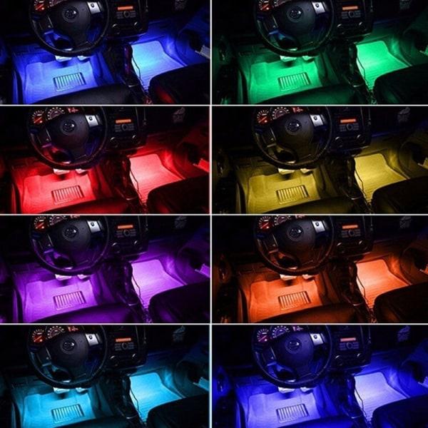 4x 12LED RGB Car Interior Atmosphere Footwell Strip Light USB Ch One Size