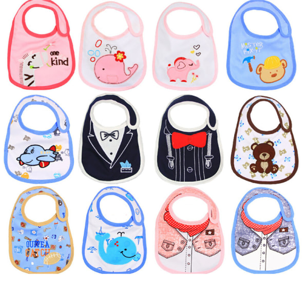 5Pcs Baby Bibs Children Cartoon Waterproof Burp Cloth Feeding S One Size