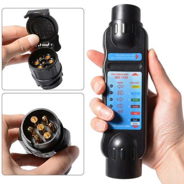 Car Truck Trailer 7 Pin Cable Plug Socket Tester Wiring Circuit  Black