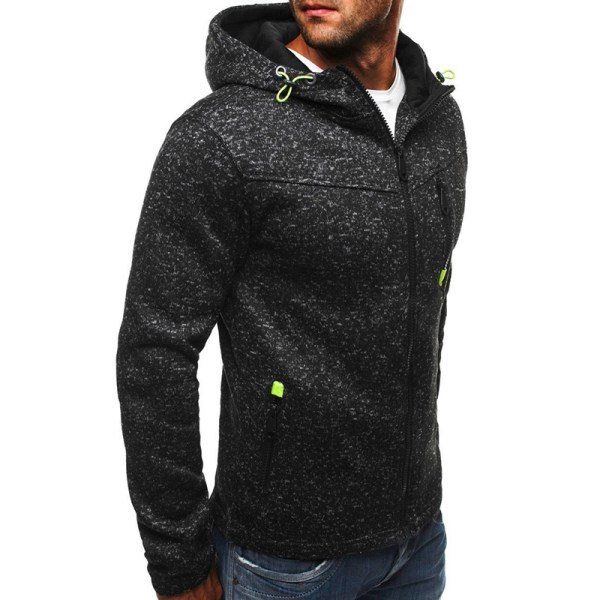 Men's Hoodie Fleece Zip Up Hoodie Jacket Sweatshirt Hooded Zippe Black XL