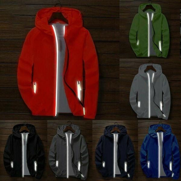Men''''s Waterproof Windbreaker Zipper Jacket Hoodie Light Spor Blue L
