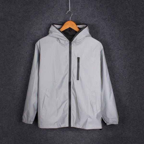 Mens Waterproof Reflective Running Jacket Night Overcoat Outwea Gray L