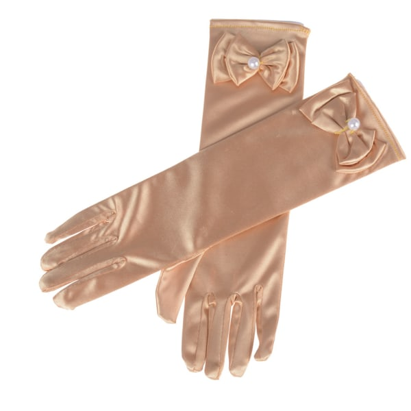 Satin Bow Pearl Long Gloves Elbow Length Princess Costume Dress Sky Blue 0