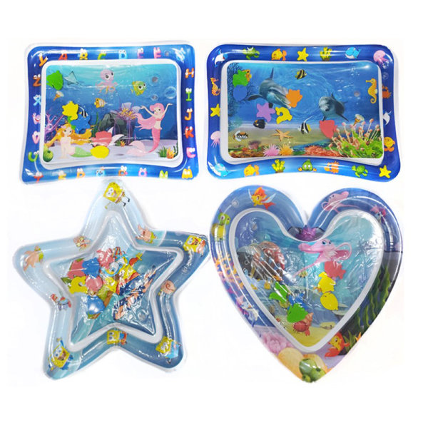 Water Playmat Inflatable Play Mat Tummy Time Infants Baby Toddl Square fish
