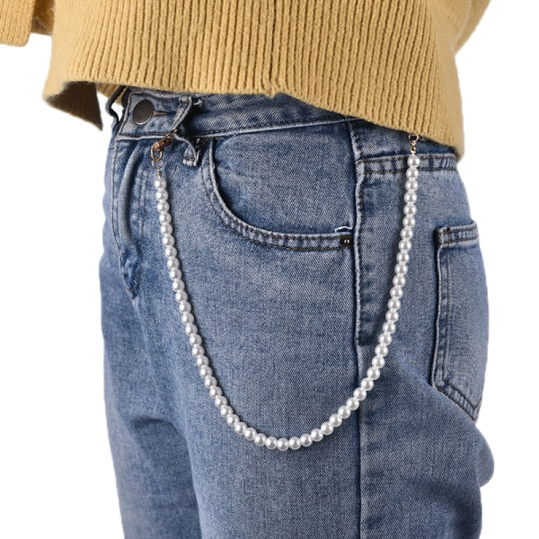 Women Cute Pear Pant Chain Belt Female Jeans Pearl Chain Pants