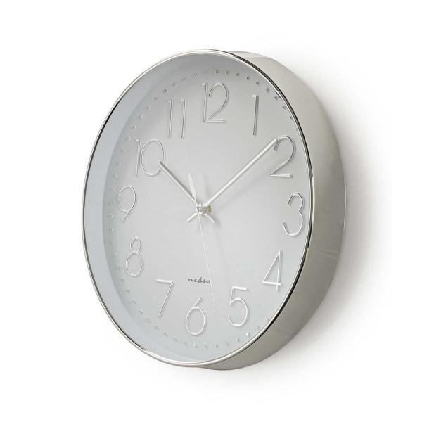 Nedis Rund väggklocka 30 cm diameter Vit och silver