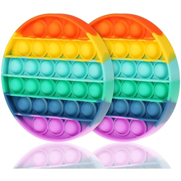 2-Pack Regnbåge - Pop It Fidget Toy - Rund