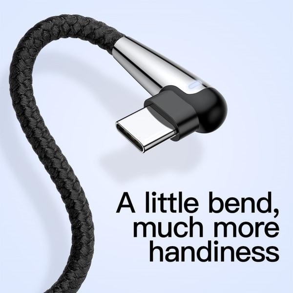 BASEUS MVP Elbow - 2M | Type-C / USB-C-kabel 2A - Svart